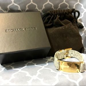 NWOT Michael Kors White and Gold Leather Bracelet